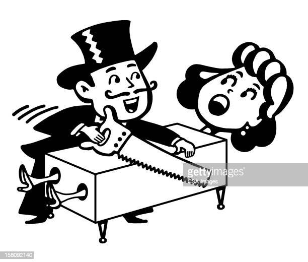 magician sawing woman in half - magician stock illustrations, clip art, cartoons, & icons