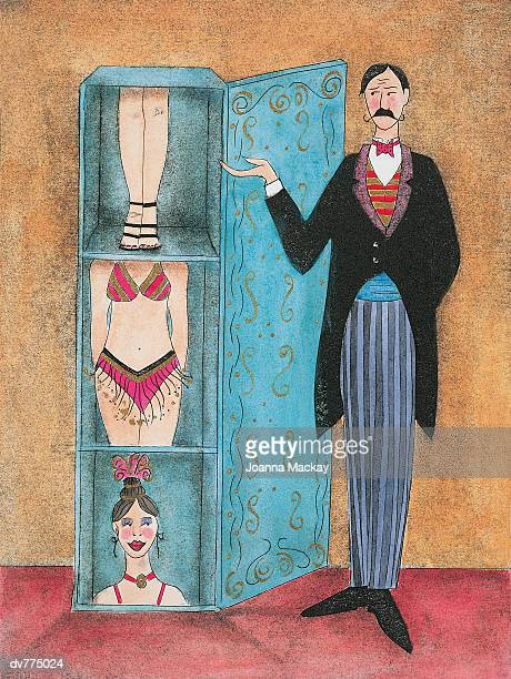 magician standing next to a box with a woman in parts inside - next stock illustrations