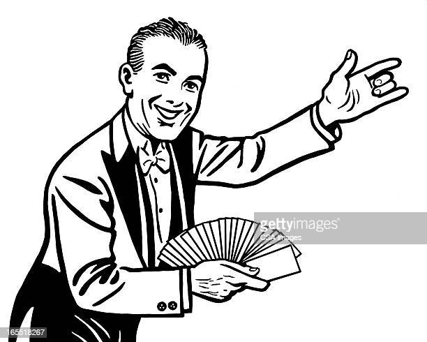 magician with a deck of cards - magician stock illustrations, clip art, cartoons, & icons