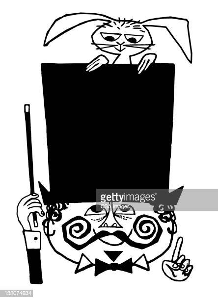 magician with top hat and rabbit - magic trick stock illustrations, clip art, cartoons, & icons