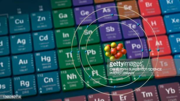 magnesium atom in front of periodic table, illustration - magnesium stock illustrations