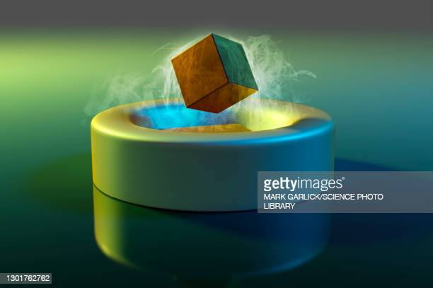 magnet floating above a superconductor, illustration - physics stock illustrations