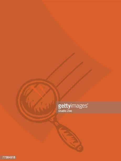 a magnifying glass against an orange background - criação digital stock illustrations