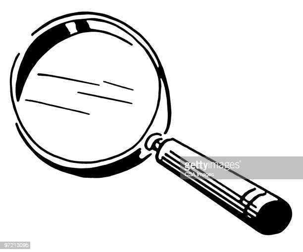 stockillustraties, clipart, cartoons en iconen met magnifying glass - vergrootglas
