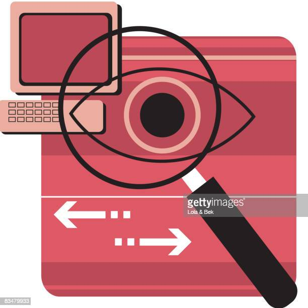 a magnifying glass investigating computer exchanges - big brother orwellian concept stock illustrations, clip art, cartoons, & icons