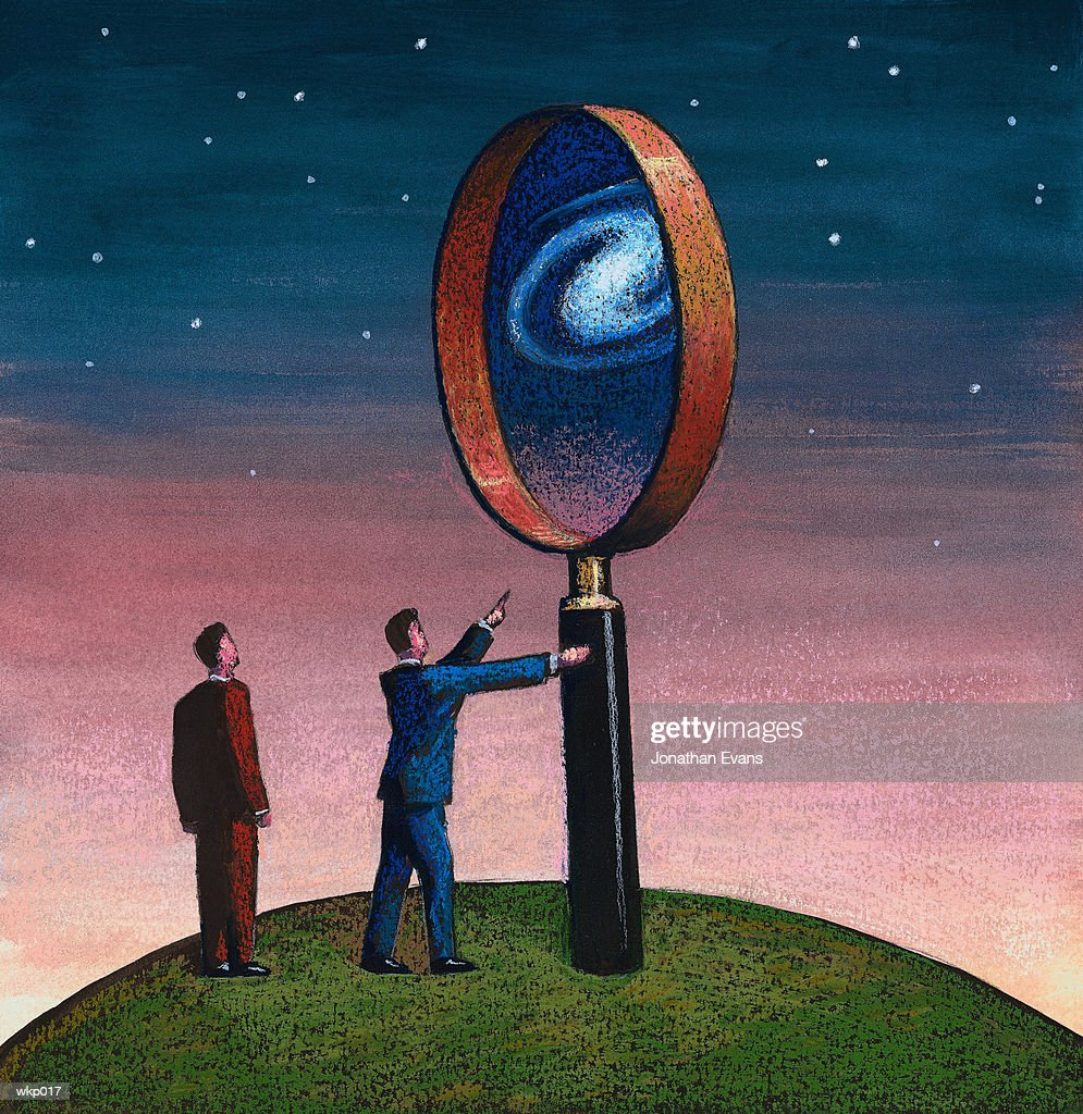 Magnifying Glass & Sky : Stock Illustration