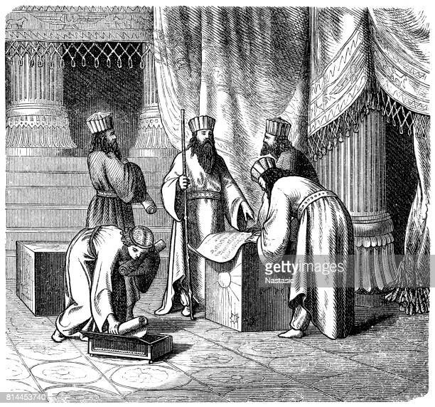magus, persian priests of antiquity - ancient babylon stock illustrations