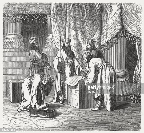 magus, persian priests of antiquity, wood engraving, published in 1880 - ancient babylon stock illustrations