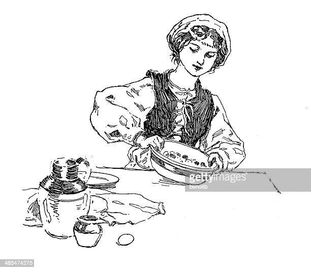 maid cooking - maid stock illustrations, clip art, cartoons, & icons