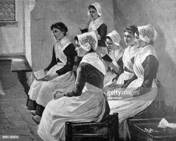 maids sit on the bench and read books - 1896 - 1896 stock illustrations, clip art, cartoons, & icons