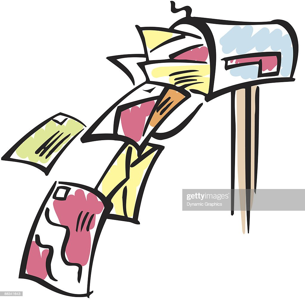 mailbox overflowing with mail color vector art getty images rh gettyimages com Vintage Christmas Clip Art Mailbox Animated Dancing Clip Art