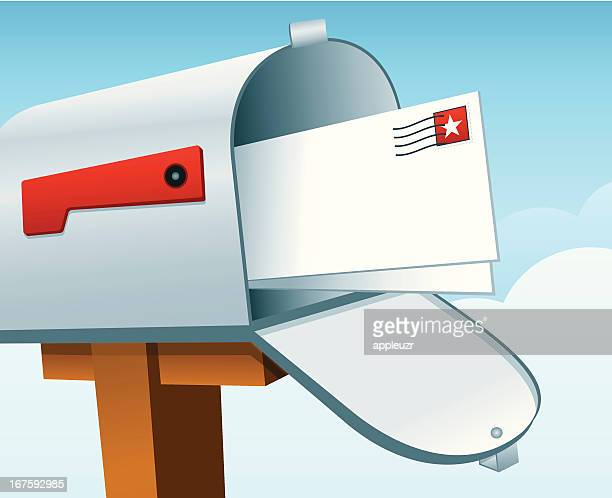 mailbox with mail - junk mail stock illustrations