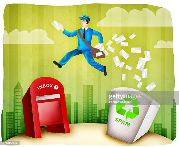 mailman delivering mail after filtering spam mails - domestic mailbox stock illustrations