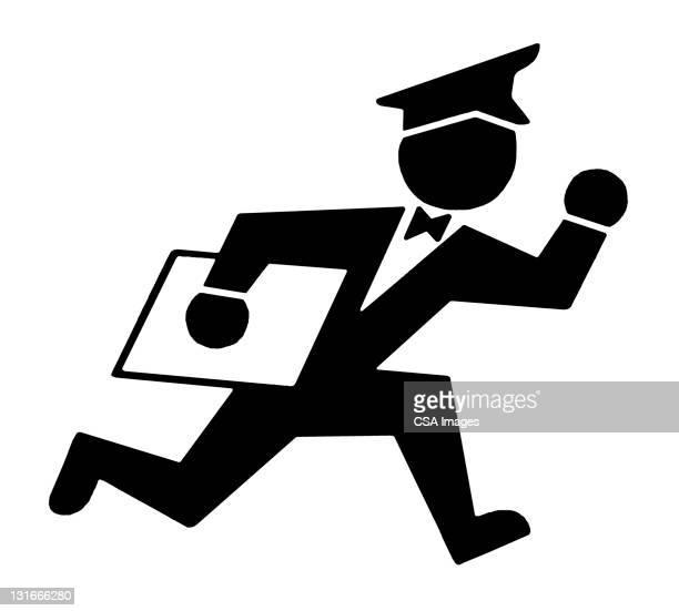mailman running - courier stock illustrations