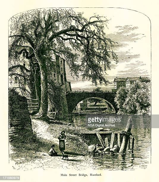 main street bridge, hartford, connecticut | historic american illustrations - hartford connecticut stock illustrations, clip art, cartoons, & icons