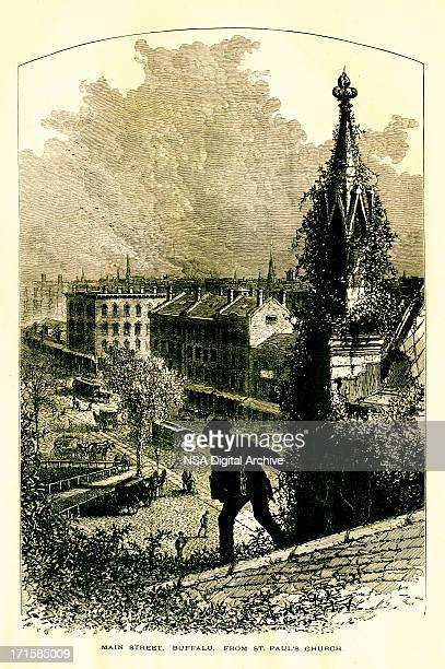 main street in buffalo, new york | historic american illustrations - high street stock illustrations