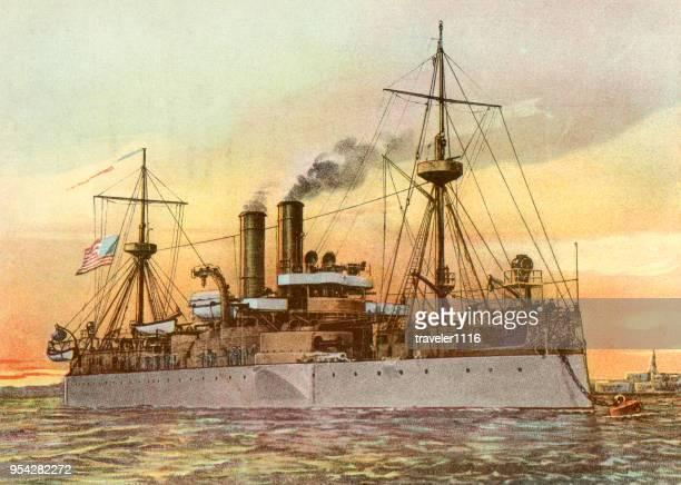 uss maine von 1899 - kriegsschiff stock-grafiken, -clipart, -cartoons und -symbole