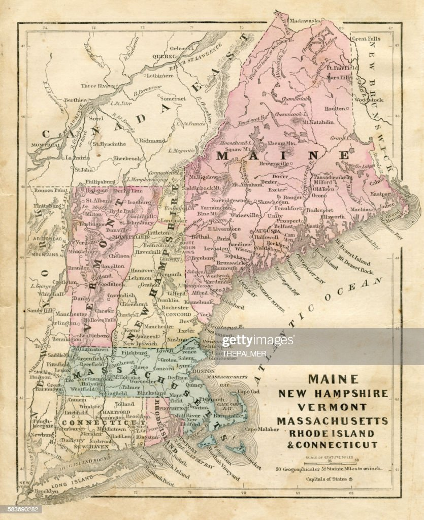 Maine New Hampshire and Connecticut 1856 : Stock-Illustration