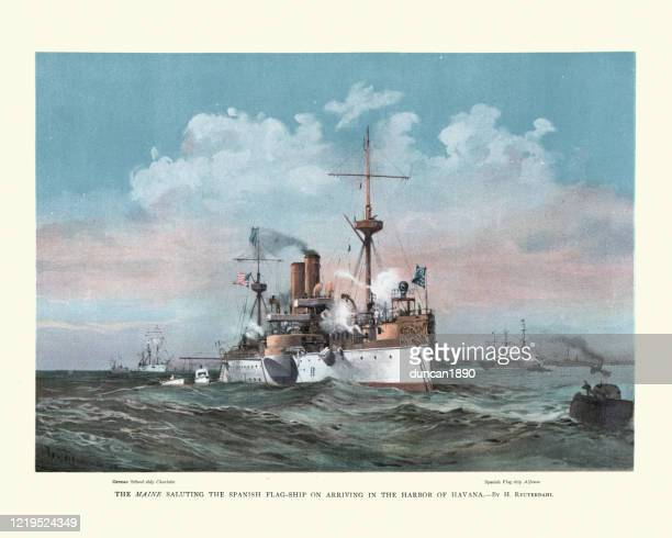 uss maine, us navy armored cruiser warship, in havana harbour - battleship stock illustrations