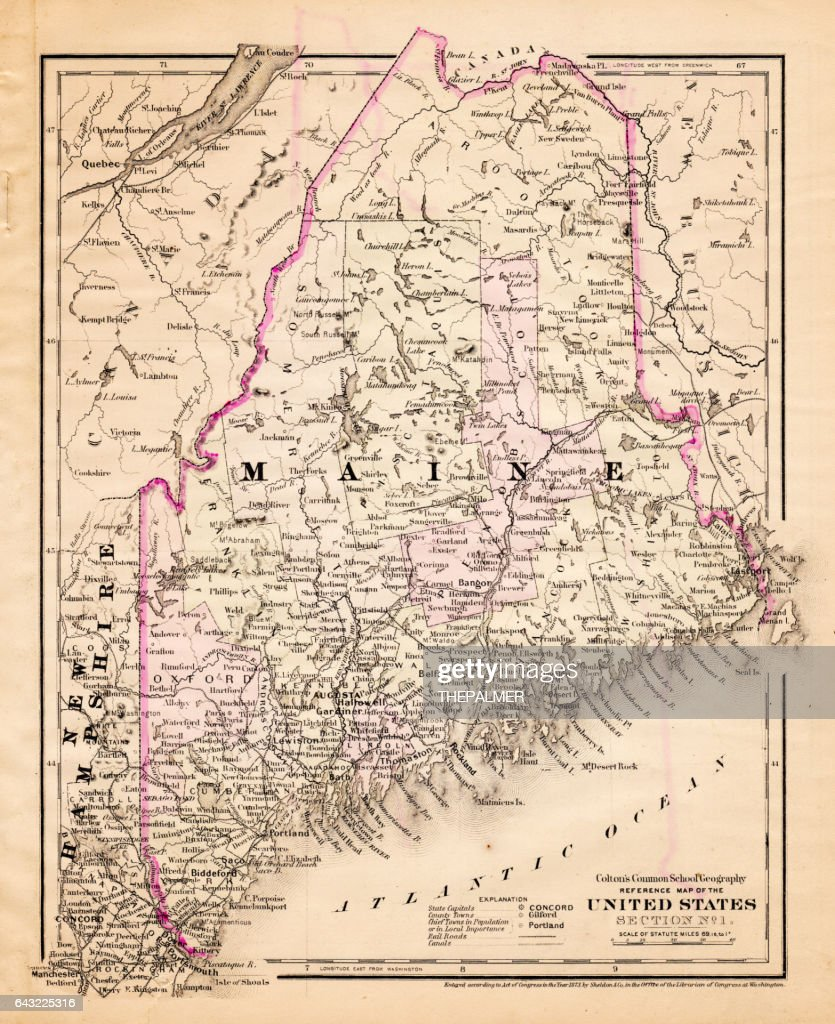 Maine Usa Map 1881 stock illustration - Getty Images on