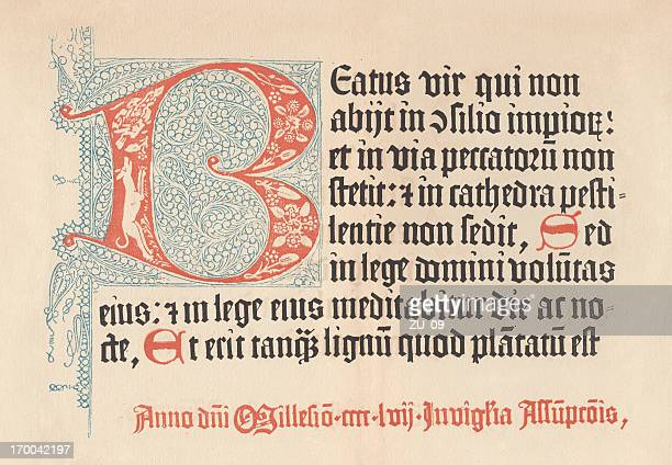 Mainz Psalter from 1457, lithograph, published in 1879