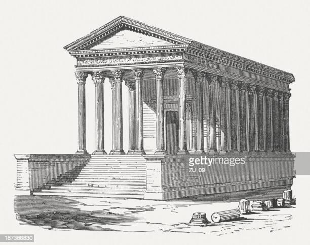 maison carrée, nimes, france, c.16/19 bc, wood engraving, published 1876 - maison stock illustrations, clip art, cartoons, & icons