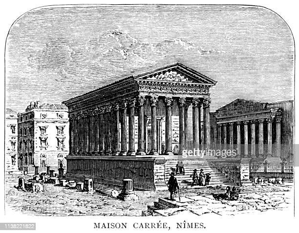maison carrée, an ancient building in nîmes, southern france - maison stock illustrations, clip art, cartoons, & icons
