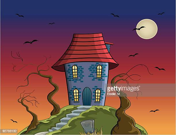 maison hantée / hauted house - maison stock illustrations, clip art, cartoons, & icons