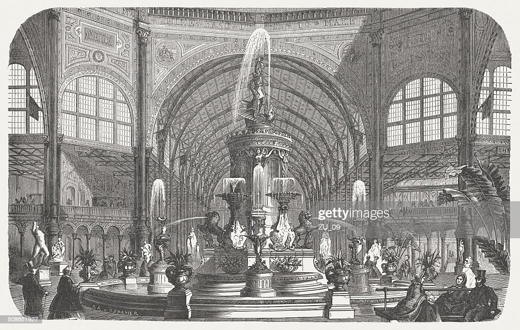 Majolica fountain, Crystal Palace, World exhibition, London, 1862, published 1877 : Stock Illustration