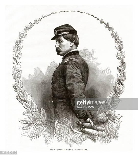 ilustraciones, imágenes clip art, dibujos animados e iconos de stock de general importante george b. mcclellan guerra civil grabado - archivo