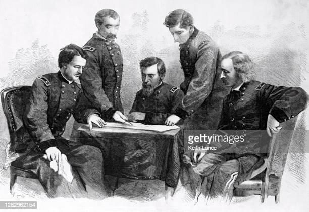 major general philip sheridan and his civil war generals - american civil war battle stock illustrations