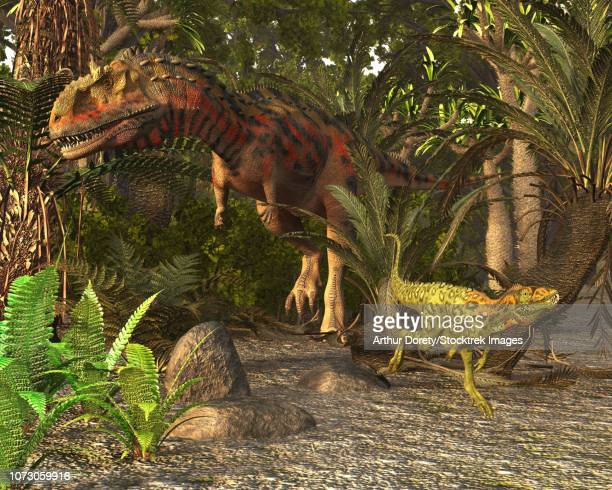 Majungasaurus and Masiakasaurus of late Cretaceous Madagascar.
