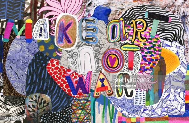make art not war text on colourful pattern background - art and craft stock illustrations
