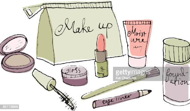 A make up bag and cosmetics
