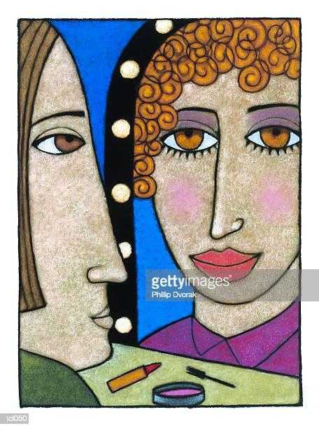 makeup mirror - actor stock illustrations
