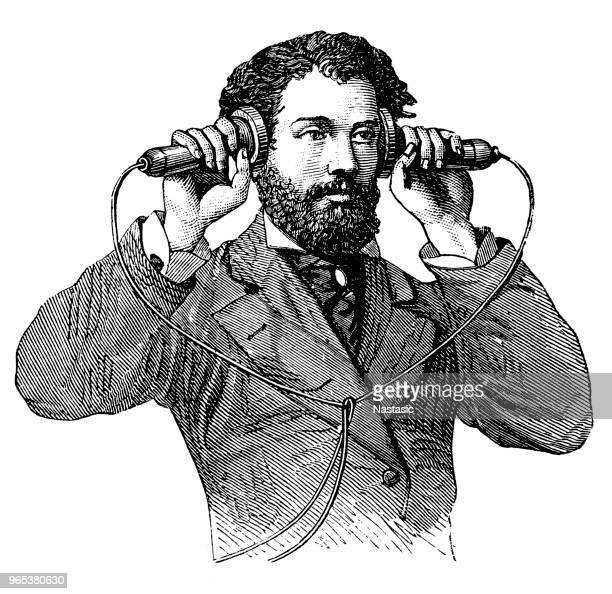 making a call on antique telephone - woodcut stock illustrations