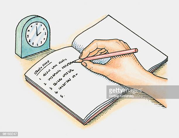making a list of tasks in a notebook with a clock to estimate timings - to do list stock illustrations