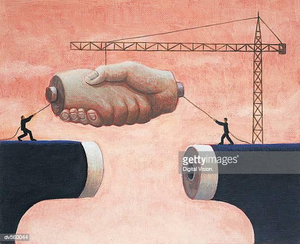 ilustrações, clipart, desenhos animados e ícones de making a perfect fit - estabelecer uma ponte