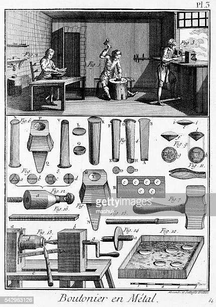making buttons from diderot encyclopedia - encyclopaedia stock illustrations, clip art, cartoons, & icons