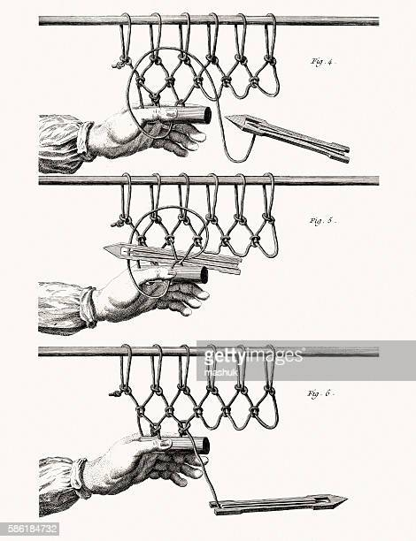 ilustraciones, imágenes clip art, dibujos animados e iconos de stock de making fishnet, diderot encyclopedia - red de pesca