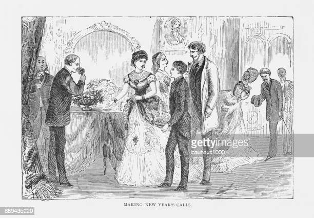 making new year's calls victorian engraving, 1879 - party social event stock illustrations, clip art, cartoons, & icons