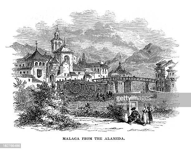 malaga from the alameda - málaga province stock illustrations, clip art, cartoons, & icons