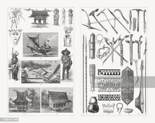 malay culture, wood engravings, published in 1897 - bali stock illustrations