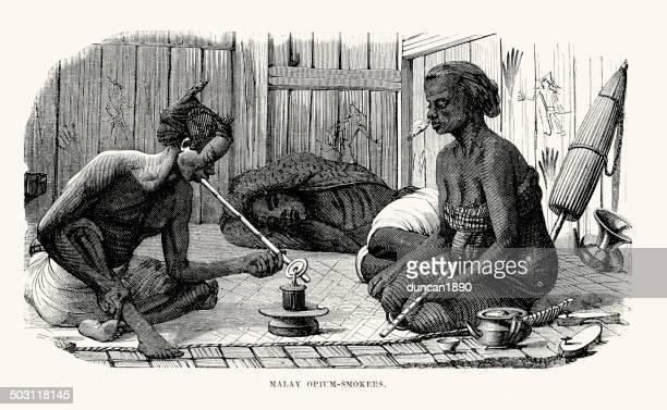 malay opium smokers - opium stock illustrations