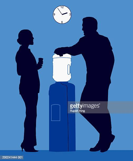 Male and female figures standing by water cooler