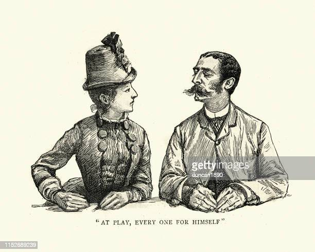 male and female gamblers, monte carlo casino, 19th century - monte carlo stock illustrations, clip art, cartoons, & icons
