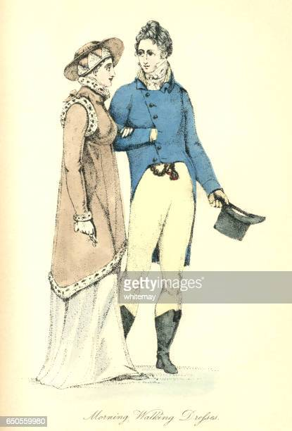 male and female morning walking dress, 1807 - arm in arm stock illustrations, clip art, cartoons, & icons
