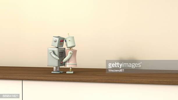 Male and female robot face to face, 3D rendering
