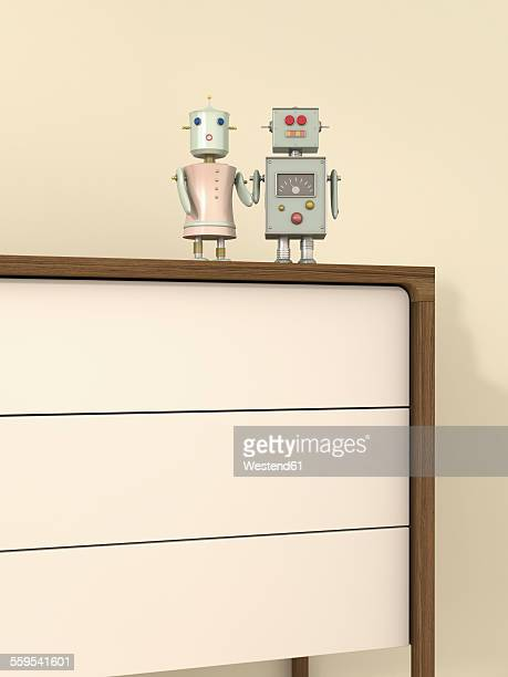 Male and female robot on sideboard, 3D rendering