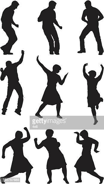 男性と女性のシルエットダンス - 身ぶり点のイラスト素材/クリップアート素材/マンガ素材/アイコン素材